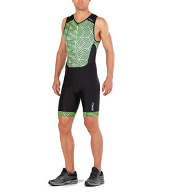 2XU Perform Front Zip Trisuit Men, black/geo neo green